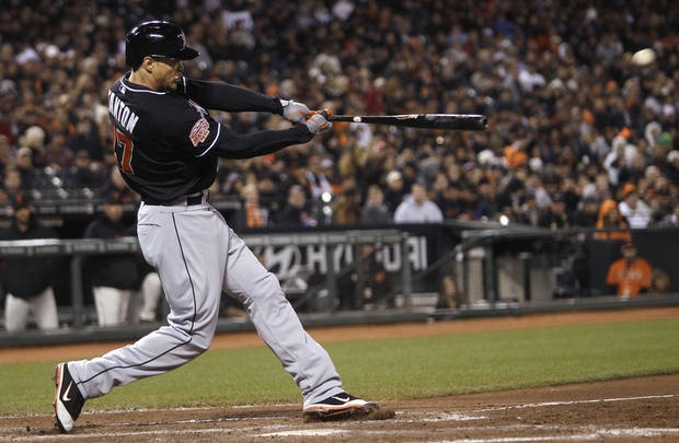 Miami Marlins' Giancarlo Stanton doubles off of San Francisco Giants pitcher Barry Zito during the third inning of a baseball game in San Francisco, Wednesday, May 2, 2012. (AP Photo/Jeff Chiu)