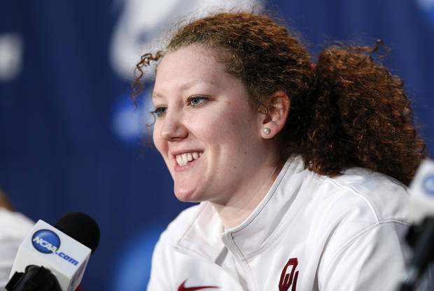 OU's Joanna McFarland (53) speaks to the media during the press conference and practice day at the Oklahoma City Regional for the NCAA women's college basketball tournament at Chesapeake Energy Arena in Oklahoma City, Saturday, March 30, 2013. Photo by Nate Billings, The Oklahoman
