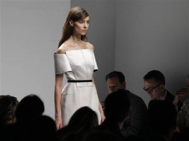 A model wears a design from the Calvin Klein Spring 2013 collection at Fashion Week in New York, Thursday, Sept. 13, 2012.  (AP Photo/Kathy Willens)