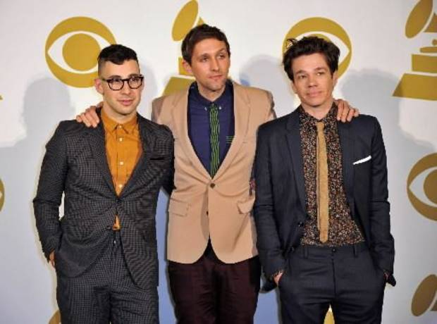 In this Dec. 5, 2012 file photo, the band fun., from left, Jack Antonoff, Andrew Dost and Nate Ruess pose for a photo backstage at the Grammy Nominations Concert Live! at Bridgestone Arena, in Nashville, Tenn. (AP)
