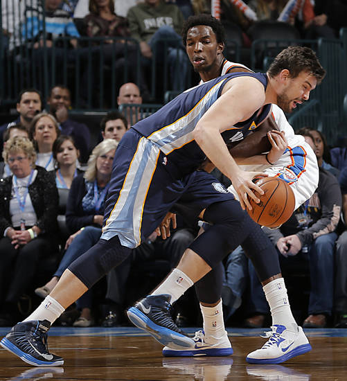 Oklahoma City's Hasheem Thabeet (34)  defends on Memphis' Marc Gasol (33) during the NBA basketball game between the Oklahoma City Thunder and the Memphis Grizzlies at Chesapeake Energy Arena on Wednesday, Nov. 14, 2012, in Oklahoma City, Okla.   Photo by Chris Landsberger, The Oklahoman