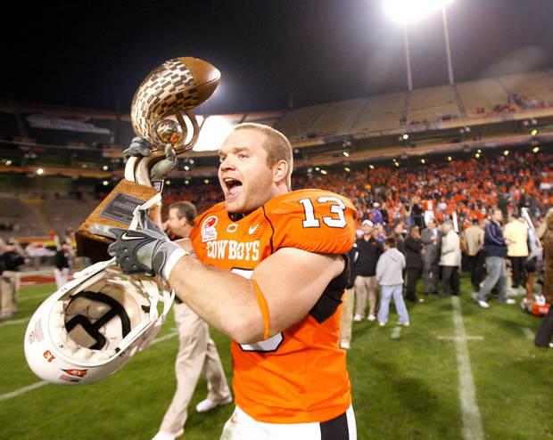 Nathan Peterson of OSU celebrates after the Insight Bowl college football game between Oklahoma State University (OSU) and the Indiana University Hoosiers (IU) at Sun Devil Stadium on Monday, Dec. 31, 2007, in Tempe, Ariz. 