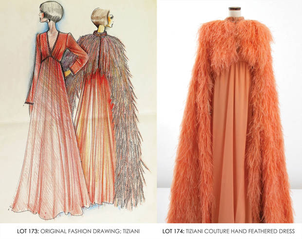 Tiziani beaded coral gown and long, hand-feathered cape with matching original sketch. From the Jan. 11, 2014 Tiziani: Lagerfeld + Liz Auction. Palm Beach Modern Auctions image. (PRNewsFoto/LiveAuctioneers.com)