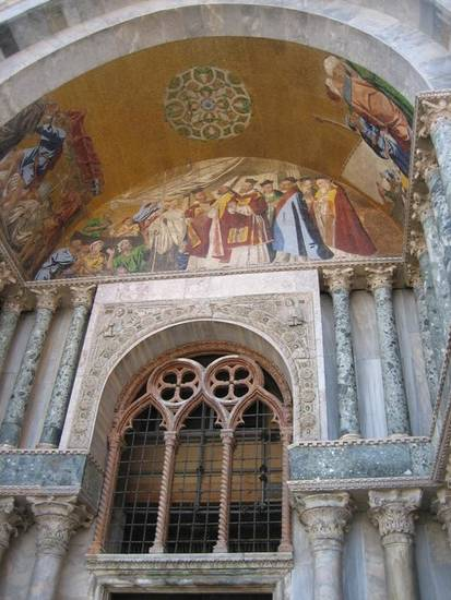One of many beautiful depictions outside and inside St. Mark's Basilica.