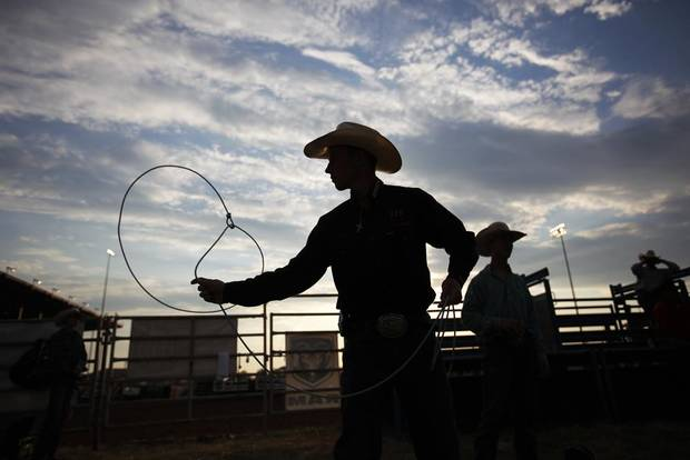 Jake Hoffman, of Bell, Fla., practices roping during International Finals Youth Rodeo in Shawnee, Okla., Sunday, July 8, 2012.  Photo by Garett Fisbeck, The Oklahoman