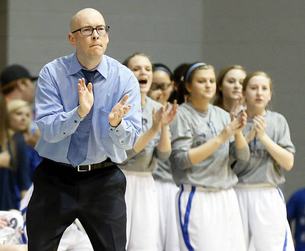 Head coach Rory Hamilton and the Mount St. Mary bench clap after a play against during a Class 4A girls high school basketball game against Byng in the first round of the state tournament at the Sawyer Center on the campus of Southern Nazarene University in Bethany, Okla., Thursday, March 7, 2013. Photo by Nate Billings, The Oklahoman