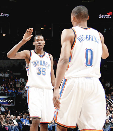 Kevin Durant, left, says he hopes to match up against teammate Russell Westbrook all game tonight.  Photo by bryan terry, the oklahoman