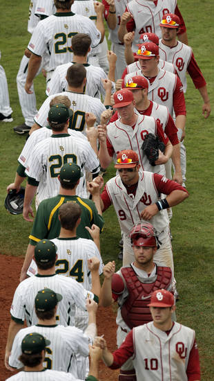 The Sooners and Bears come together after a Big 12 Baseball Championship tournament game between the Oklahoma Sooners and Baylor Bears at the Chickasaw Bricktown Ballpark in Oklahoma City, Saturday, May 26, 2012. OU won, 7-2. Photo by Nate Billings, The Oklahoman