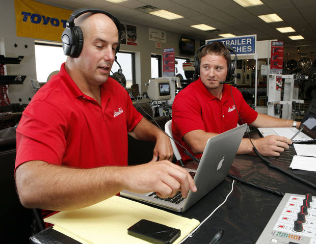 Former University of Oklahoma (OU) football players Teddy Lehman (left) and Dusty Dvoracek do their radio program on Tuesday, July 17, 2012 in Norman, Okla.  Photo by Steve Sisney, The Oklahoman