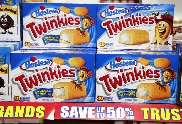 Hostess Twinkies are on display in January at a grocery store in Santa Clara, Calif. Hostess Brands Inc., the maker of Twinkies and Wonder Bread, closed all of its 36 factories Friday morning and filed a motion in U.S. Bankruptcy Court to immediately liquidate Hostess Brands and sell its assets.