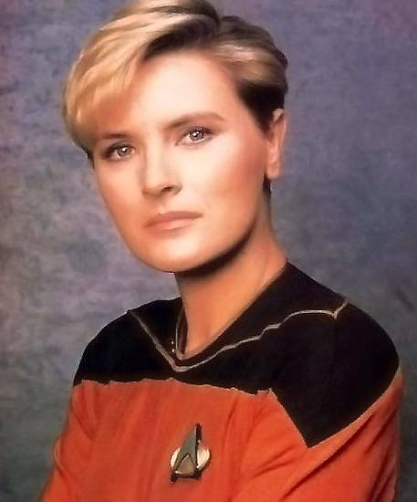 "Denise Crosby as Lt. Tasha Yar from the television series ""Star Trek: The Next Generation."""