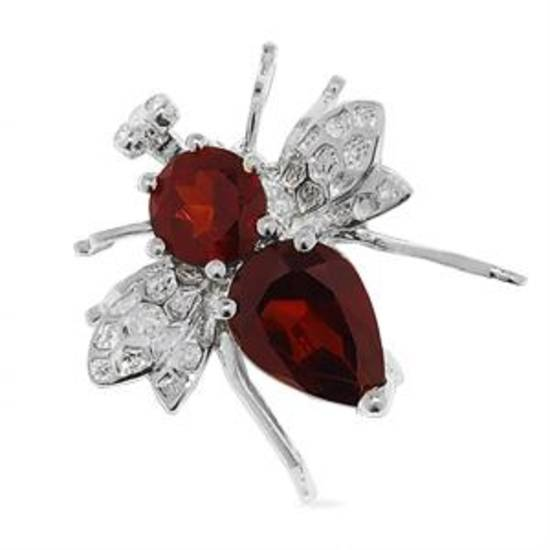 Garnet Bee Brooch in Sterling Silver with Diamond Accents, $69, available only only.