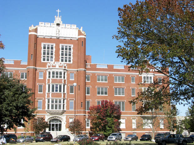 Benedictine Hall on the Campus of St. Gregory's University in Shawnee. The iconic building has been without turrets on it's top corners since they were damaged in the 5.6 magnitude earthquake on Nov. 5 2011. Photo by Vallery Brown, The Oklahoman