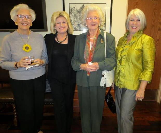 Joan Gilmore, Debby Dudman, Jose Freede and Jeary Seikel were at the event where Bobbie Burbridge Lane, president of The Burbridge Foundation, donated a collection of large paintings to Oklahoma City University in honor of seven special friends. (Photo by Debby Dudman).