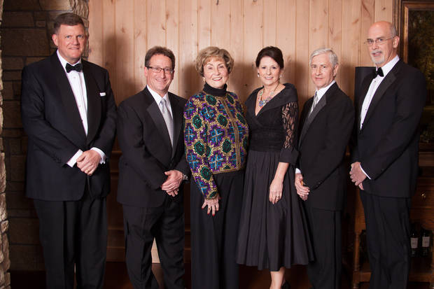 From left, Clay Bennett, chairman of the Oklahoma City Thunder; Mike Neal, president and chief executive officer of the Tulsa Metro Chamber of Commerce; Jacque Hollar, widow of Great Expectations founder Charles Hollar; Excellence in Leadership Gala co-chairmen Paula Huck and Rick Huck; and Jim McAuley, chairman and chief executive officer of First American Bank. <strong> - Provided</strong>