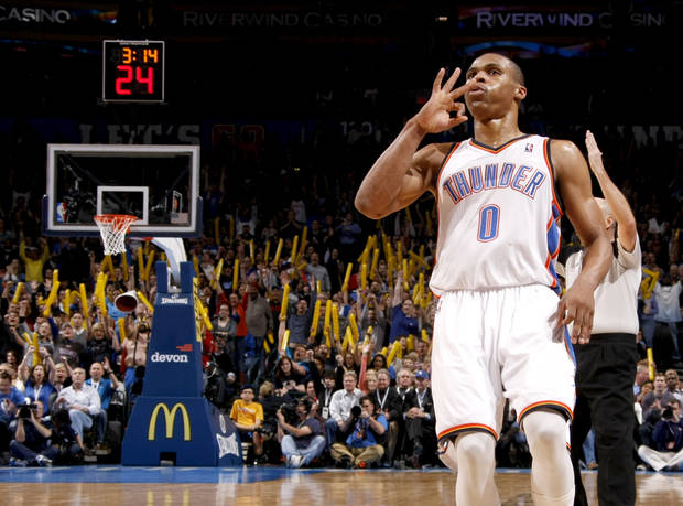 Oklahoma City's Russell Westbrook reacts after making a three-point basket during the NBA game between the Oklahoma City Thunder and the Memphis Grizzlies at Chesapeake Energy Arena in Oklahoma CIty, Friday, Feb. 3, 2012. Photo by Bryan Terry, The Oklahoman