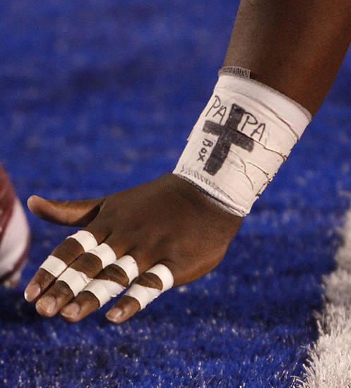 The wrist wrap of Oklahoma's Casey Walker (53) during the college football game between the University of Oklahoma Sooners (OU) and the University of Kansas Jayhawks (KU) on Sunday, Oct. 16, 2011. in Lawrence, Kan. Photo by Chris Landsberger, The Oklahoman