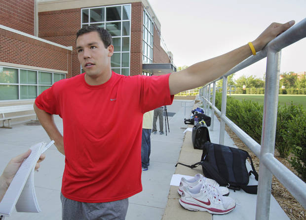 "Sam Bradford is in town to help with a ""Beat the Heat"" campaign on Wednesday, July 7, 2010, in Norman, Okla.  Photo by Steve Sisney, The Oklahoman"