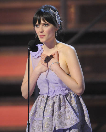 Zooey Deschanel speaks at the 51st Annual Grammy Awards on Sunday, Feb. 8, 2009, in Los Angeles. (AP Photo/Mark J. Terrill)