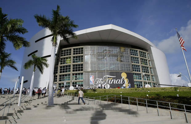 Fans begin to line up before Game 3 of the NBA Finals between the Oklahoma City Thunder and the Miami Heat at American Airlines Arena, Sunday, June 17, 2012. Photo by Bryan Terry, The Oklahoman