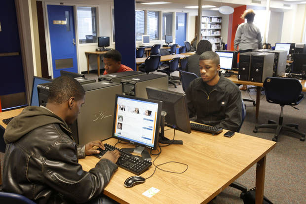 Students study in the library at Langston University.  By Paul Hellstern, The Oklahoman <strong>PAUL HELLSTERN - Oklahoman</strong>