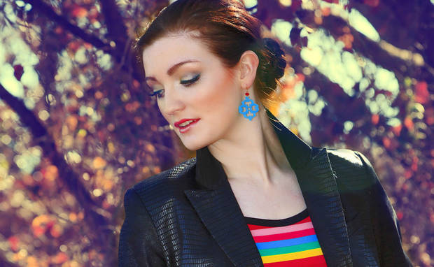 Use black to ground bright colors. Stripe T-shirt by AZI and Woman cotton coated black jacket with Christopher Blue yellow jeans from Ruth Meyers. Model is Emiliy, makeup by Lilly Stone, Sooo Lilly Cosmetics. Photo by  Chris Landsberger, The Oklahoman. <strong>CHRIS LANDSBERGER</strong>
