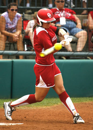 Javen Henson hits as the University of Oklahoma Sooner Softball team plays Arizona in game two of the NCAA Softball Norman Super Regional at Marita Hines field on Saturday, May 26, 2012, in Norman, Okla.  Photo by Steve Sisney, The Oklahoman