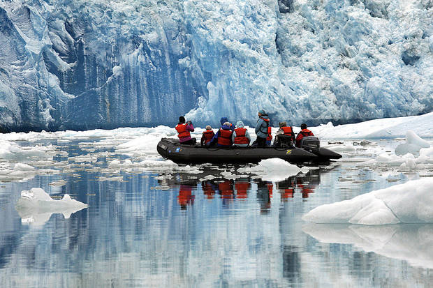 A zodiac tours the South Sawyer Glacier in Alaska, Sunday, June 3, 2012.  Photo by Sarah Phipps, The Oklahoman