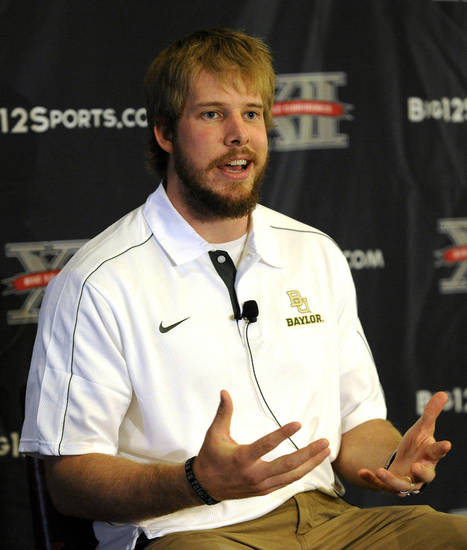 Baylor quarterback Nick Florence answers a question at NCAA college football Big 12 Media Days, Tuesday, July 24, 2012, in Dallas. (AP Photo/Matt Strasen)