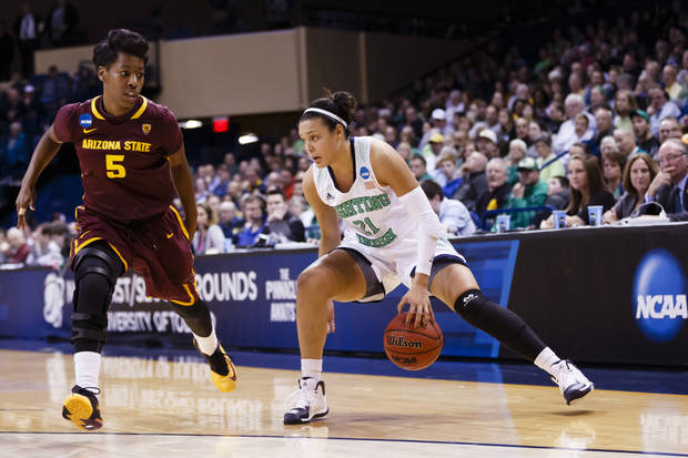 Notre Dame gets to play on its home court in the Sweet 16 against Oklahoma State on Saturday. (AP Photo/Rick Osentoski)