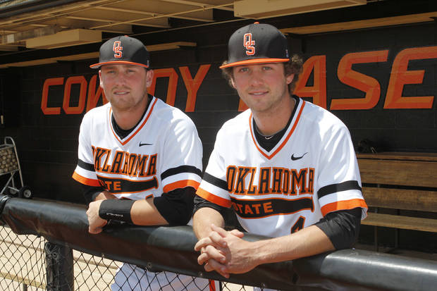 Brothers Randy, left, and Brendan McCurry are playing baseball together for Oklahoma State University at Allie P. Reynolds Stadium in Stillwater, OK, Tuesday, May 7, 2013,  By Paul Hellstern, The Oklahoman