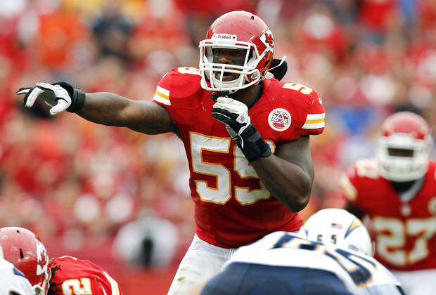FILE - In this Sept. 30, 2012 file photo, Kansas City Chiefs inside linebacker Jovan Belcher (59) gestures at the line of scrimmage during an NFL football game against the San Diego Chargers in Kansas City, Mo. Police say Belcher fatally shot his girlfriend early Saturday, Dec. 1, 2012, in Kansas City, Mo., then drove to Arrowhead Stadium and committed suicide in front of his coach and general manager. (AP Photo/Ed Zurga, File)