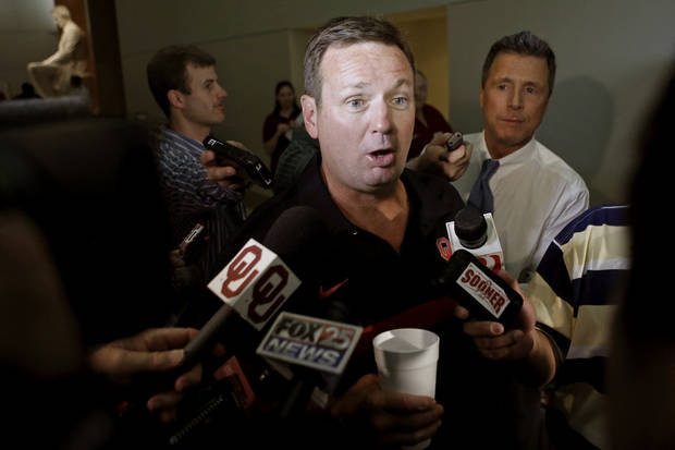 Oklahoma football coach Bob Stoops talks with the media during the Sooner Caravan stop at the National Cowboy & Western Heritage Museum  in Oklahoma City, Wednesday, August 1, 2012. Photo by Bryan Terry, The Oklahoman