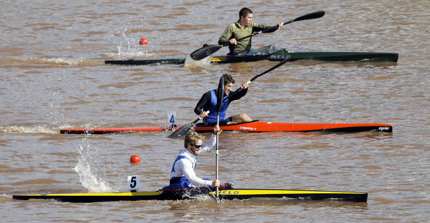 Zac Robertson, Austin Schwinn and Cedric Bond compete in a men�s kayak 200-meter semifinal during the USA Canoe/Kayak U.S. Olympic Team Trials.