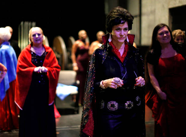 Contestant Dawn Anita Plumlee of Duncan waits to perform as Lady Elvis for the talent portion of the Ms. Oklahoma Senior America Pageant. Photo by Bryan Terry, The Oklahoman