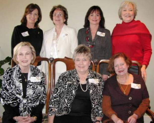 Theta Founders' Day: Front are Judith Morrison, Jeanne Anne Hubbard and Dorthlynn Gaddis. Back: Gayla Stapleton, Linda Cutchall, Sue Timberlake, Elizabeth Prosser. Photo provided