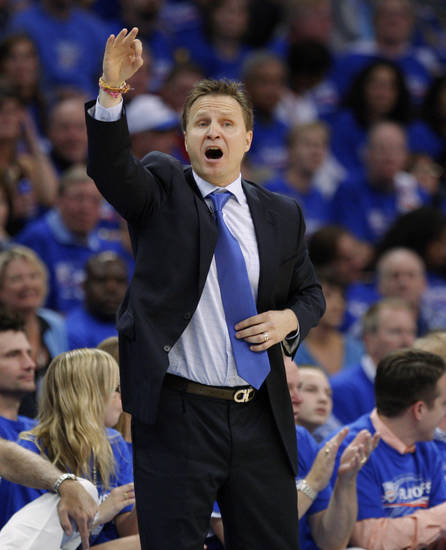 Oklahoma City coach Scott Brooks shouts at his team during the NBA basketball game between the Denver Nuggets and the Oklahoma City Thunder in the first round of the NBA playoffs at the Oklahoma City Arena, Sunday, April 17, 2011. Photo by Bryan Terry, The Oklahoman