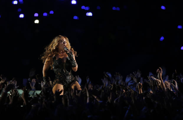 Beyonce performs during the halftime show of NFL Super Bowl XLVII football game between the San Francisco 49ers and the Baltimore Ravens, Sunday, Feb. 3, 2013, in New Orleans. (AP Photo/Bill Haber)