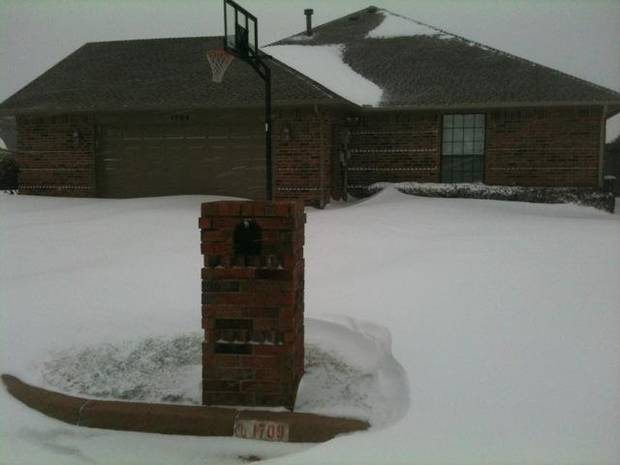 Snow drifts in Midwest City. Photo by Jim Beckel