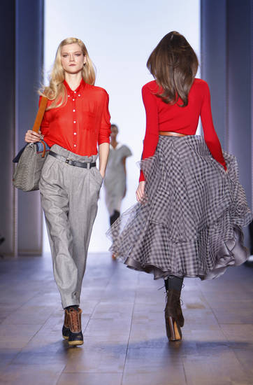 The Tommy Hilfiger fall 2010 collection is modeled Thursday, Feb. 18, 2010, during Fashion Week in New York.  (AP Photo/Seth Wenig) ORG XMIT: NYSW108