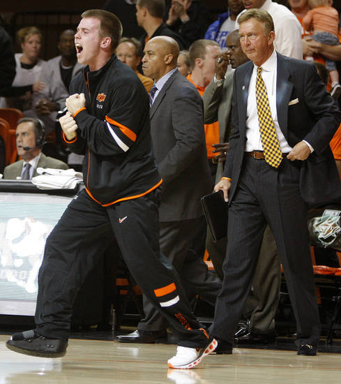 Oklahoma State's Keiton Page reacts during an NCAA college basketball game between the Oklahoma State University Cowboys (OSU) and the University of Texas-San Antonio Roadrunners at Gallagher-Iba Arena in Stillwater, Okla., Wednesday, Nov. 16, 2011. Photo by Bryan Terry, The Oklahoman