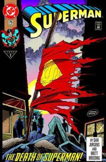 "The cover to the non-polybagged version of ""Superman"" No. 75. DC Comics. <strong></strong>"