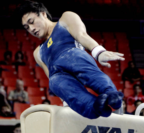 Glen Ishino, California, competes in the pommel at the event finals of the men's NCAA Men's Gymnastics Championships at the Lloyd Noble Center on Saturday, April 21, 2012, in Norman, Okla.  Photo by Steve Sisney, The Oklahoman