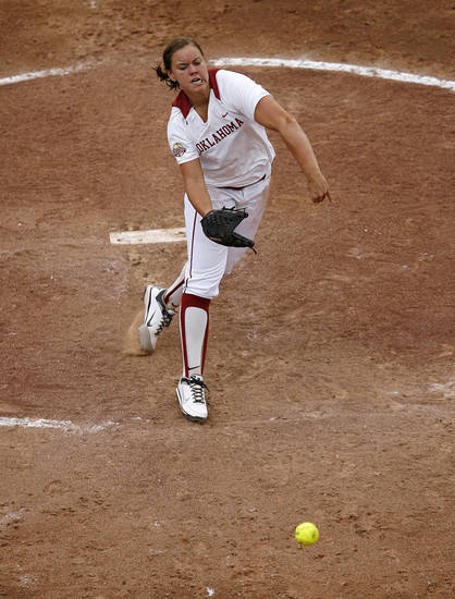 Keilani Ricketts (10) pitches during a Women's College World Series game between Oklahoma University and Arizona State University at ASA Hall of Fame Stadium in Oklahoma City, Sunday, June 3, 2012.  Photo by Garett Fisbeck, The Oklahoman