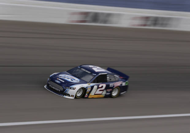 Brad Keselowski makes his way around turn four during practice for the NASCAR Sprint Cup Series race, Saturday, March 9, 2013 in Las Vegas. (AP Photo/Julie Jacobson)