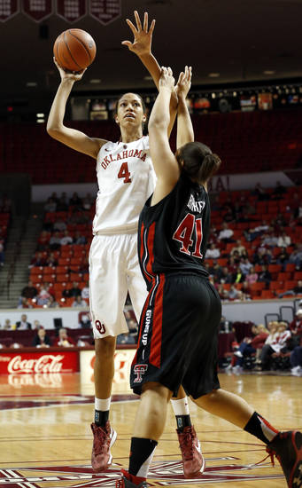 Oklahoma Sooner's Nicole Griffin (4) shoots guarded by Tech's Kelsi Baker (41) as the University of Oklahoma Sooners (OU) play the Texas Tech Lady Red Raiders in NCAA, women's college basketball at The Lloyd Noble Center on Saturday, Jan. 12, 2013 in Norman, Okla. Photo by Steve Sisney, The Oklahoman