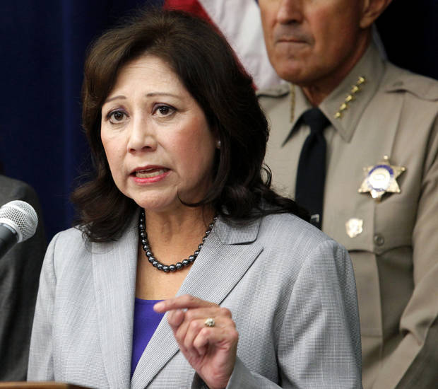 FILE - In this Nov. 16, 2012 file photo Labor Secretary Hilda Solis speaks in Los Angeles. This is what �Forward� looks like. Fast forward, even. President Barack Obama�s campaign slogan is springing to life in a surge of executive directives and agency rulemaking touching many of the affairs of government. They are shaping the cost and quality of health plans, the contents of the school cafeteria, the front lines of future combat, the price of coal. They are the leading edge of Obama�s ambition to take on climate change in ways that may be unachievable in legislation.  (AP Photo/Richard Vogel, File)