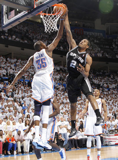 Oklahoma City's Kevin Durant (35) defends on San Antonio's Kawhi Leonard (2) during Game 6 of the Western Conference Finals between the Oklahoma City Thunder and the San Antonio Spurs in the NBA playoffs at the Chesapeake Energy Arena in Oklahoma City, Wednesday, June 6, 2012. Photo by Chris Landsberger, The Oklahoman