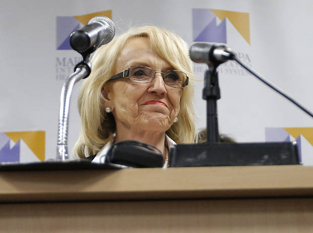 Arizona Gov. Jan Brewer calls for the expansion of Medicaid, Wednesday, Jan. 26, 2013 in Phoenix with healthcare and business leaders at Maricopa Medical Center. An expansion would call for $8 billion in federal assistance for the State over three years. (AP Photo/Matt York)