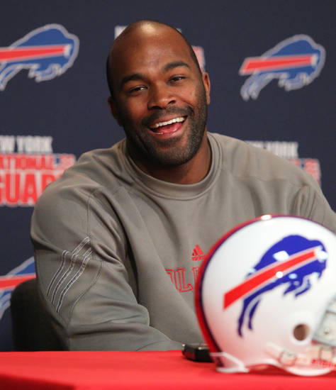 Buffalo Bills' Mario Williams speaks during a news news conference at the team's NFL football training facility in Orchard Park, N.Y., Tuesday, April 2, 2013. (AP Photo/Bill Wippert)